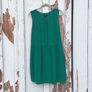 J.Crew Emerald Green Sleeveless Dress Pockets Knee